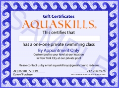 AquaSkills One Private Swim Class Gift Certificate