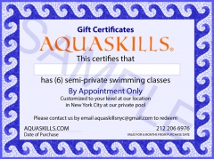 AquaSkills 6 Semi-Private Swim Classes Gift Certificate